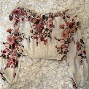 Long sleeve strapless crop top